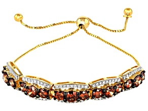 Caramel and White Zirconia From Swarovski ® 18k Yellow Gold Over Sterling Silver Bracelet 10.50ctw
