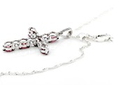 Red and White Zirconia From Swarovski® Rhodium Over Sterling Silver Cross Pendant With Chain 4.30ctw