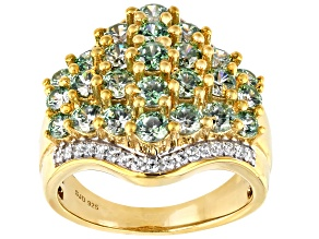 Fancy Green and White Zirconia From Swarovski ® 18k Yellow Gold Over Sterling Silver Ring 4.80ctw