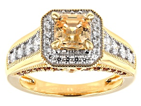 Imperial Mosaic Cut Amber,Caramel,and White Zirconia From Swarovski®18k Yellow Gold Over Silver Ring