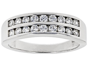 Swarovski ® White Zirconia Platinum Over Sterling Silver Band Ring 0.65ctw