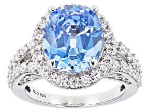Fancy Blue And White Zirconia From Swarovski ® Rhodium Over Sterling Silver Ring 11.56ctw