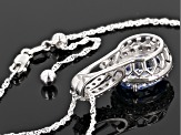 Fancy Blue And White Zirconia From Swarovski ® Rhodium Over Sterling Pendant With Chain 10.99ctw