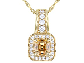 Caramel and White Zirconia From Swarovski® 18k Yellow Gold Over Sterling Pendant With Chain 2.34ctw