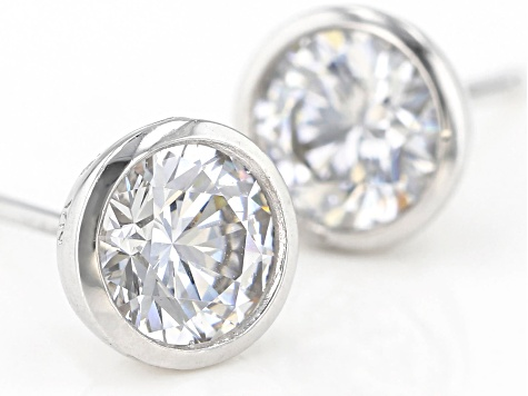 White Cubic Zirconia Rhodium Over Sterling Silver Stud Earrings 3.00ctw