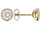 White Cubic Zirconia 18K Yellow Gold Over Sterling Silver Stud Earrings 3.00ctw