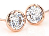 White Cubic Zirconia 18K Rose Gold Over Sterling Silver Stud Earrings 3.00ctw