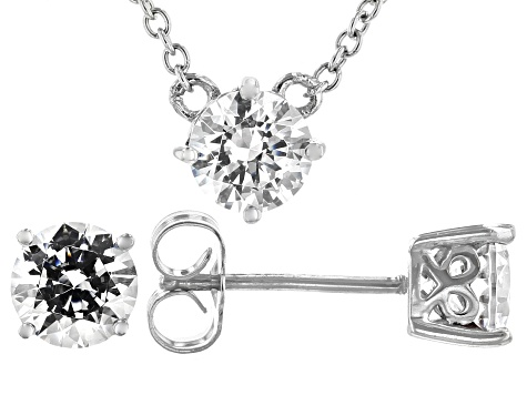 White Zirconia From Swarovski ® Rhodium Over Silver Necklace And Earrings 4.78ctw