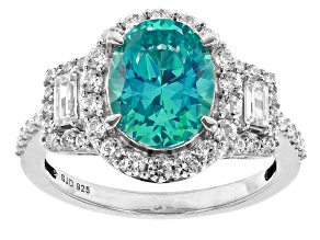 Mint And White Zirconia From Swarovski ® Rhodium Over Sterling Silver Ring 6.29ctw