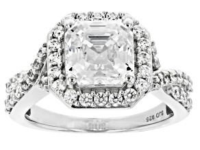 Imperial Mosaic Cut White Zirconia From Swarovski ® Rhodium Over Sterling Silver Ring 6.00ctw