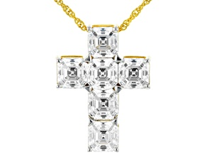 Imperial Mosaic White Zirconia From Swarovski®18k Yellow Gold Over Silver Cross Pendant With Chain