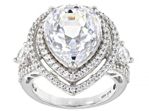 White Zirconia From Swarovski ® Platinum Over Sterling Silver Ring 17.72ctw