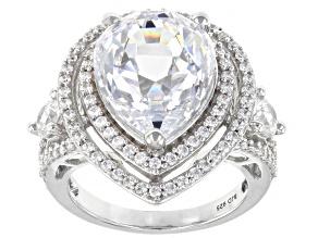 White Zirconia From Swarovski ® Platinum Over Sterling Silver Ring 17.72ctw