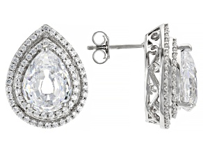 White Zirconia From Swarovski ® Platinum Over Sterling Silver Earrings 16.64ctw