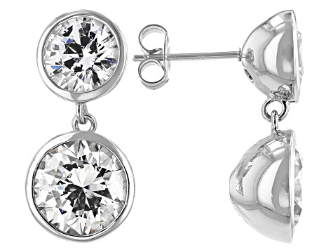 White Zirconia From Swarovski ® Rhodium Over Sterling Silver Dangle Earrings 8.89ctw