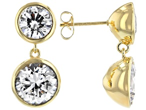 White Zirconia From Swarovski ® 18k Yellow Gold Over Sterling Silver Dangle Earrings 8.89ctw