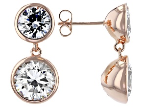 White Zirconia From Swarovski ® 18k Rose Gold Over Sterling Silver Dangle Earrings 8.89ctw