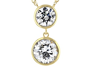 White Zirconia From Swarovski ® 18k Yellow Gold Over Sterling Silver Necklace 8.89ctw