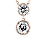 White Zirconia From Swarovski ® 18k Rose Gold Over Sterling Silver Necklace 8.89ctw