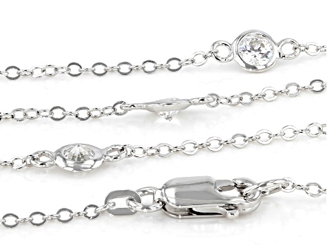 White Zirconia From Swarovski ® Rhodium Over Sterling Silver Necklace 7.29ctw