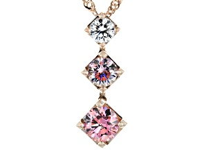 Multicolor Zirconia From Swarovski ® 18k Rose Gold Over Sterling Silver Pendant With Chain 2.56ctw