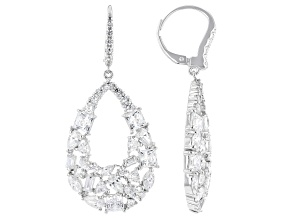 White Zirconia From Swarovski ® Rhodium Over Sterling Silver Earrings 12.73ctw