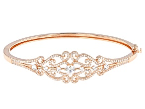 White Zirconia From Swarovski ® 18k Rose Gold Over Sterling Silver Bracelet 3.61ctw