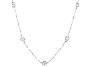 White Zirconia From Swarovski ® Platinum Over Sterling Silver Necklace 2.90ctw