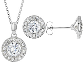 White Zirconia From Swarovski® Platinum Over Sterling Silver Earrings And Pendant With Chain 4.10ctw