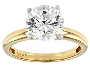 Swarovski (R) White Zirconia 18k Yellow Gold Over Sterling Silver Ring 4.81ctw