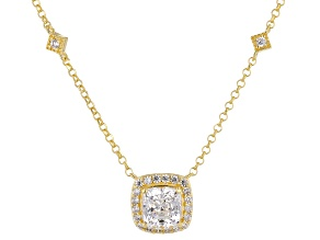 White Zirconia From Swarovski(R) 18k Yellow Gold Over Sterling Silver Necklace 2.41ctw