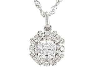 White Zirconia From Swarovski(R) Rhodium Over Sterling Silver Pendant With Chain 2.52ctw
