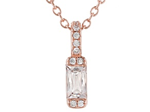 White Zirconia From Swarovski(R) 18k Rose Gold Over Sterling Silver Pendant With Chain 0.48tw