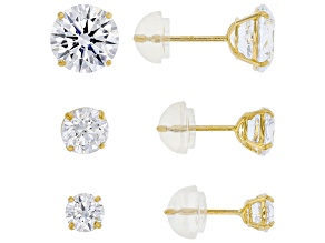 White Zirconia From Swarovski (R) 14k Yellow Gold Stud Earrings- Set of 3 6.15ctw