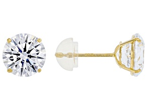 White Zirconia From Swarovski ® 14k Yellow Gold Stud Earrings 4.03ctw