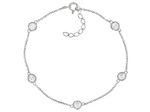 White Zirconia From Swarovski ® Platinum Over Sterling Silver Bracelet 1.25ctw (0.74ctw DEW)