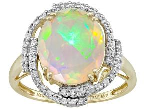 Multi Color Ethiopian Opal 10k Yellow Gold Ring 2.44ctw.