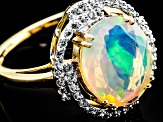 Multi Color Ethiopian Opal 10k Yellow Gold Ring 2.44ctw.