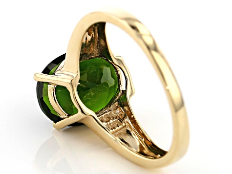 3.70ct 11x9mm Oval Russian Chrome Diopside 10k Yellow Gold Solitaire Ring