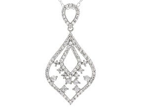 Cubic Zirconia Silver And 18k Rose Gold Over Silver Pendant With Chain 1.71ctw (1.05ctw DEW)