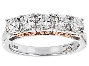 Cubic Zirconia Silver And 18k Rose Gold Over Silver Ring 2.27ctw (1.25ctw DEW)