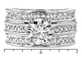 Cubic Zirconia Silver And 18k Rose Gold Over Silver Ring 6.56ctw (4.44ctw DEW)