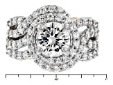 Cubic Zirconia Silver And 18k Rose Gold Over Silver Ring 5.63ctw (3.14ctw DEW)