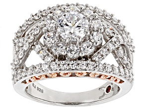 Cubic Zirconia Silver And 18k Rose Gold Over Silver Ring 4.54ctw (2.37ctw DEW)