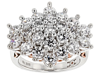 Picture of Cubic Zirconia Silver And 18k Rose Gold Over Silver Ring 6.92ctw (3.91ctw DEW)