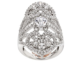 Cubic Zirconia Silver And 18k Rose Gold Over Silver Ring 4.95ctw (3.00ctw DEW)