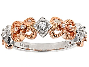 Cubic Zirconia Silver And 18k Rose Gold Over Silver Ring .29ctw (.15ctw DEW)