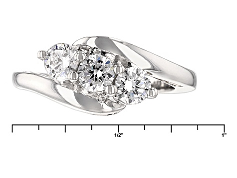 Cubic Zirconia Silver And 18k Rose Gold Over Silver Ring 1.89ctw (1.08ctw DEW)