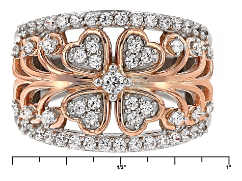 Cubic Zirconia Silver And 18k Rose Gold Over Silver Ring 1.63ctw (.86ctw DEW)
