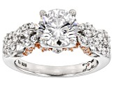 Cubic Zirconia Silver And 18k Rose Gold Over Silver Ring 4.85ctw (2.77ctw DEW)